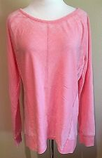 NWT Women's Frosted Pink Stripe Long Sleeve Green Tea Casual Faded Top XL