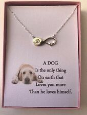 Infinity Dog Paw Love Pendant Necklace with poem