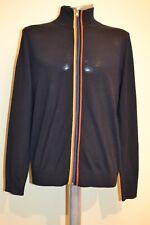 "Paul Smith Mens Navy Merino Wool Artist Stripe Zipped Cardigan ""S""  New"