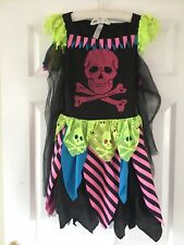 GEORGE Girls Neon Halloween Skull Costume Dress With Velcro Wings&Cape Age 11-12