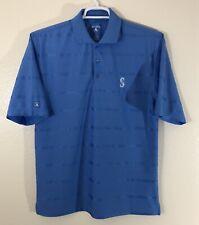 Seattle Mariners Antigua Mens Polo Golf Shirt Small Blue Striped Logo EUC
