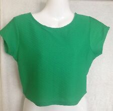 RIVER ISLAND Green Textured Crop Top Size 12