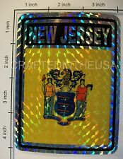 """Reflective Sticker New Jersey State Flag 3x4"""" Inches Adhesive Car Bumper Decal"""