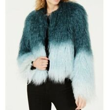 Bar Iii Womens Mongolian Ombr Faux Fur Short Coat Jacket Size Xs Bomber
