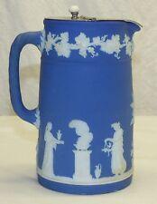 Antique Wedgwood Blue Jasper Jasperware Milk Hot Water Pitcher w/ Pewter Lid