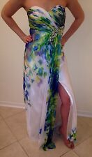 Cache Size 2 Floral Lace Crystal White Multicolor Strapless Prom Long Gown Dress