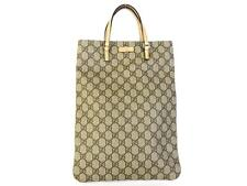 Authentic GUCCI Original GG PVC Leather Grey Beige Handbag Bag Purse