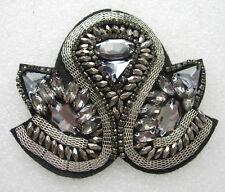 EP69 Trendy Style Gemstone Beaded Epaulette Shoulder Applique Sew On Motif