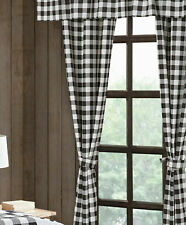 "84"" Buffalo Plaid Black White Check 5 pc Curtain Valance Set tiebacks checkered"