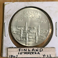 1967 Finland 10 Markkaa - 50th Anniversary of Independence BU Silver Coin