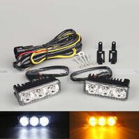 2x 6 LED High Power Car White DRL & Amber Turn Signal Daytime Running Light 12V