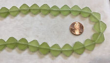 """16"""" Strand Diamond-Shaped Frosted Resin Bead Slices 13x13mm PERIDOT GREEN"""