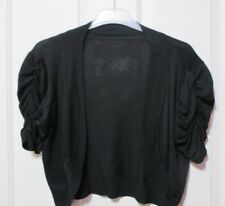 Ladies black knitted jersey short sleeved bolero top size 12