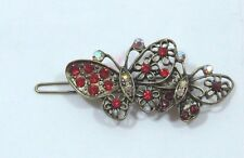 Bejeweled Butterfly Hair barrette antiqued Gold tone Red Aurora Borealis