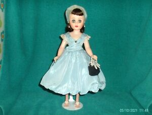 "vintage 14"" vinyl jointed American Character Toni doll in original blue dress"