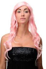 Peluca Rosa Rosa claro Rizos Ondas Largas Raya Al Lado 70cm 9204S-T2333