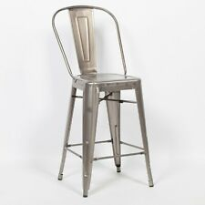 TOLIX INSPIRED METAL HIGHBACK BAR STOOL STEEL INDUSTRIAL BREAKFAST CAFE GARDEN