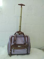 Samantha Brown Embossed ROLLING CARRY-IT-ALL  Bag PURPLE Croco LUGGAGE