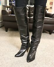Wild Pair Vintage Leather High Heel Over The Knee Boots Size 10B