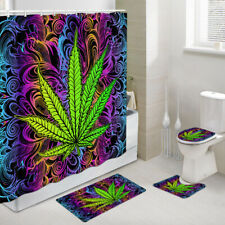 Marijuana Leaf Fantasy Shower Curtain Toilet Cover Rug Bath Mat Contour Rug Set