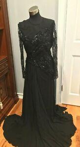 ELIE SAAB BLACK EMBELISHED SILK  LACE LONG GOWN DRESS    SIZE  FR 42 US 8-10