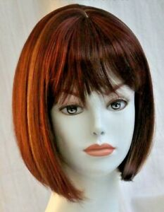 Short Straight Chin Length Bob Style Wig w/Bangs Denise Hairdo, China Doll Style
