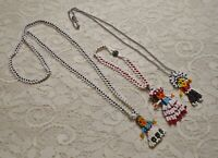VINTAGE SOUTHWEST MULTI COLOR GLASS SEED BEADED DOLL PENDANT NECKLACE LOT