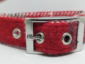 Harris Tweed Red check dog collar & lead set Various sizes FREE P&P