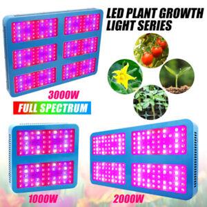 1000W 2000W 3000W LED Grow Light Panel Vollspektrum Gewächshaus Pflanzenlampe DE