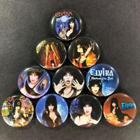 """Elvira 1"""" Button (10 Pin) Set Gothic Macabre Host Vampire"""