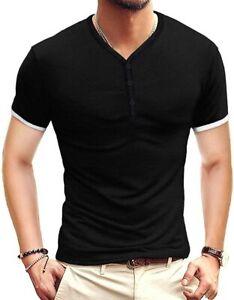 KUYIGO Mens Short Sleeve Henleys T-Shirts Buttons Placket Plain Summer Cotton Sh