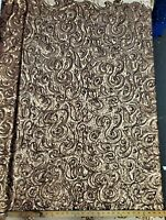 "Matte Coffee Curly Sequin Fabric on Poly Mesh ""The Spiral Sequin"" - BTY"