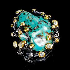 Handmade Natural Turquoise 925 Sterling Silver Ring Size 7.5/R120124