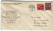 very fine!! 1930 1st Flight COVER ~ Janesville WI  To: Portland OR w/ SCOTT #681