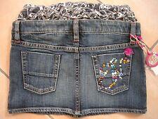 (C303) Nolita Pocket Girls Jeans Rock + Rüschenbund & Logo Nieten Besatz gr.104