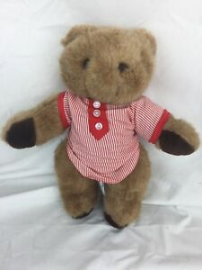 Chad Valley Jointed Teddy Bear Brown Stuffed Plush Wearing Pajamas Nite Shirt