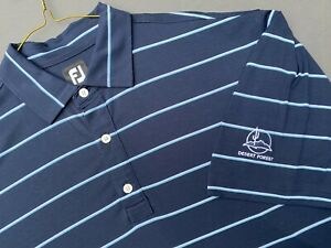 FOOTJOY BLUE STRIPED POLY/SPANDEX POLO SHIRT DESERT FOREST GC EXC COND SIZE XXL