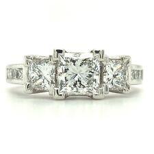 GIA - 1.34TCW Princess Cut Diamond 18K Engagement Ring *D - Color Diamond*Video*