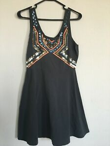 Express Aztec Sequin Sleeveless Dress Women's Size L Black