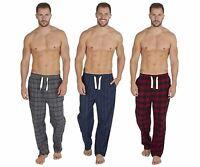 Mens Soft Brushed Cotton Flannel Check/Stripe Lounge PJs Pants Pyjama Bottoms
