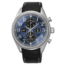 SEIKO SOLAR CHRONOGRAPH DATE BLUE DIAL BLACK LEATHER BAND MEN'S WATCH SSC209 NEW