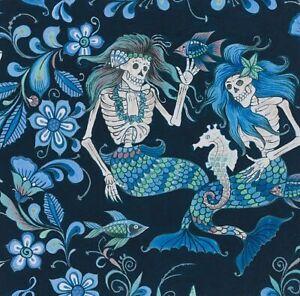 Esqueletos del Mar Mer Skeletons Alexander Henry Cotton Quilt Fabric 8718 C Blue