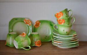 vintage set of 6 x trio tea cups saucers and plates Japan green orange flowers