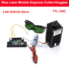 DIY CNC TTL 5.5w 5500mw 450nm Blue Laser Module Engraver Cutter Goggles