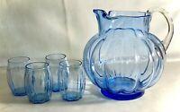 Vintage Blue Elegant Glass 5 Piece Bulbous Ice Lipped Pitcher Set