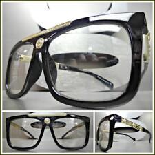 Men Classy Retro Luxury Designer Style Clear Lens EYE GLASSES Black & Gold Frame