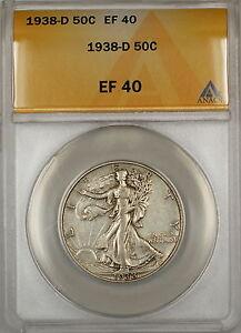 1938-D Walking Liberty Silver Half Dollar 50c Coin ANACS EF-40 HL