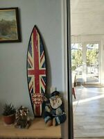 Surfboard 40' Wall Art, Surfers gift, Flag Great Britain,  Beach Decor