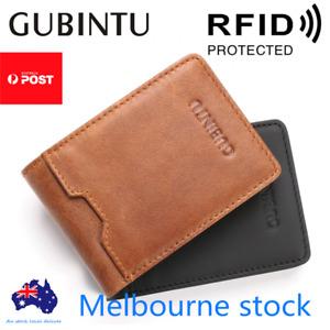 Bifold Credit Card Holder Genuine Leather Wallet Slim Mens RFID Blocking Purse