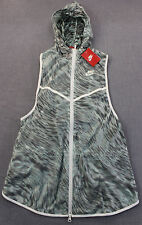 NIKE Womens Gray & White LIGHT TECH HOODED FULL ZIPPER RUNNING VEST NWT M $150